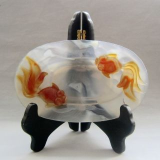 100% Chinese Carved Agate Goldfish Plates photo