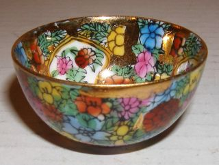 Diminuitive Old Vintage Handpainted Gilded Thousand Flowers Porcelain Tea Bowl photo