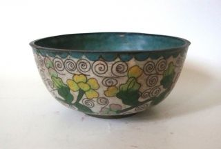 Antique Cloisonne Chinese Flowers Hand Painted Bowl photo