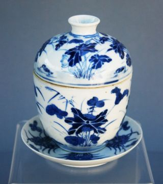 Antique Chinese Blue & White Porcelain Bowl C19 photo