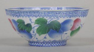 China Chinese Eggshell Porcelain Bowl Berry & Fineline Longevity Decor 19th photo