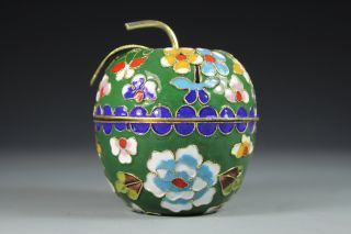 Chinese Old Closionne Wonderful Handwork Flower Apple Shape Jewelry Box photo