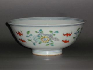 Chinese Doucai Porcelain Flowers Bowl photo
