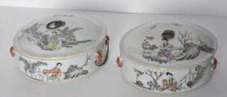 Antique Chinese Rice Casserole Bowls Set Of 2 Covered Hand Painted Figural Guc photo