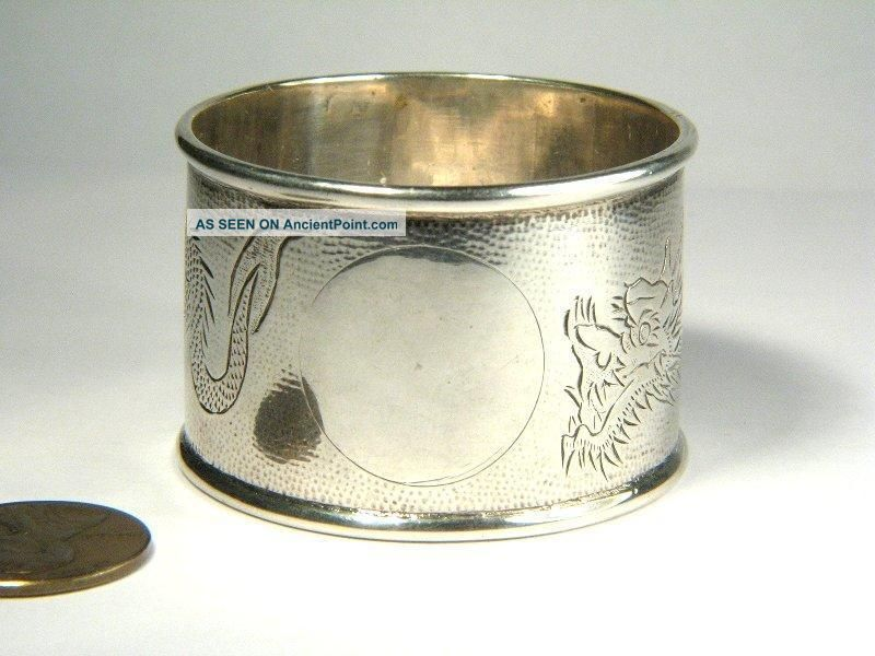 Quality Antique Chinese Sterling Silver Dragon Engraved Napkin Ring C1900 Napkin Rings & Clips photo