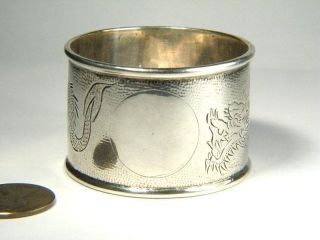 Quality Antique Chinese Sterling Silver Dragon Engraved Napkin Ring C1900 photo