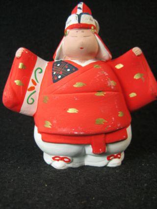 Vintage Japanese Haging Ceramic Doll Bell Heian Prince Hinanigyo photo