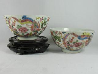 Rare Unique Famille Rose Porcelain Flower Phenix Bowls 6