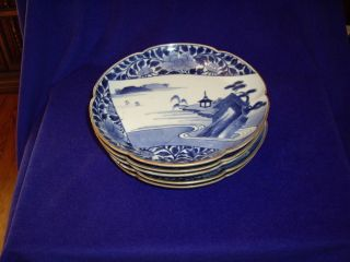 Set Of 5 Ming Dynasty Blue & White Matching Bowls In photo