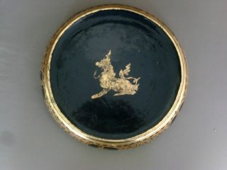 Large Antique Chinese Mirror Black Lacquer & Gilt Bowl Dragon 19th Century photo