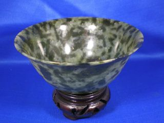 Vintage Solid Jade Very Thin Bowl With Handcarved Wood Base photo