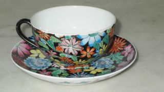 Chinese Cup And Saucer Marked Painted Floral Chintz photo