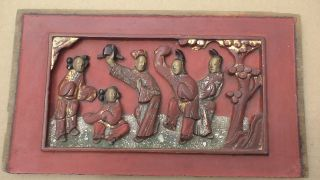 Antique Hand - Carved Chinese Temple Panel photo