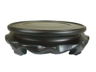 Chinese Wooden Round Dark Color Carved Stand photo