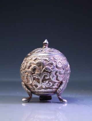 19th C.  Chinese Or Japanese Silver Salt/pepperette, photo