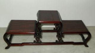 Vintage Chinese Carved Wood 3 Level Stand photo