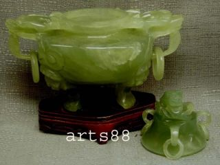 Old Chinese Green Serpentine Jade Of Incense Burner 16 photo