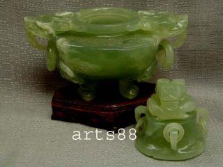 Old Chinese Green Serpentine Jade Of Incense Burner 20 photo