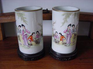 Wonderful Chinese Republic 1912 - 1949 Famille Rose Mirrored Vases photo