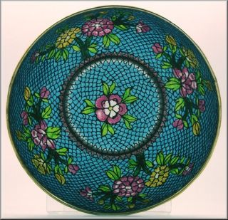 Early Chinese Plique A Jour Bowl W/ Flowers photo
