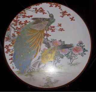 Rare & Huge Signed Kutani Porcelain Plaque Hand Painted Birds Ca 1910 - 20 photo