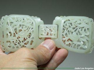 Certified Vintage Pierced Bird Hetian White Nephrite Jade 3 - Piece Belt Buckle photo