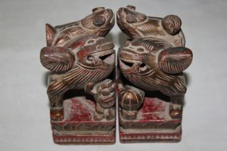 Exquisite Pair Antique Chinese Wood Lions photo