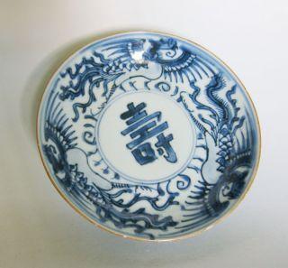 Qing Kangxi Blue And White Plate (phoenix/shou) photo