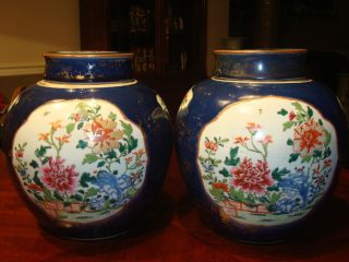 Antique Pair Chinese Famille Rose Jar Vase,  18th C,  Qianlong photo