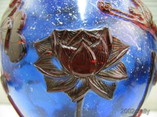 Excellent Chinese Peking Overlay Glass Vase - Lotus Flower & Crane photo