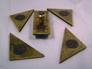 Wonderful Chinese Brass And Enamel Vintage Desk Accessories Q13 photo