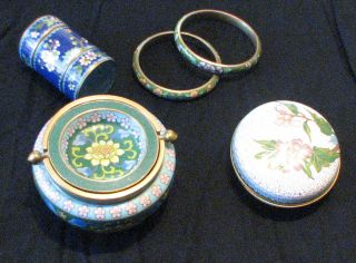 Assorted 5 Vintage Chinese Cloisonne Pieces photo