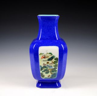 Vintage Blue Glaze Famille Rose Porcelain Vase Of Chinese Antique Cing Dy 18th photo
