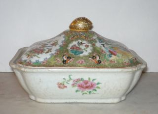 Early Chinese Export Rose Medallion Covered Vegetable Tureen W Interior Painting photo