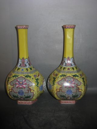 Chinese Antique Pair Delicate Fascinating Famille Rose Porcelain Flower Vase photo