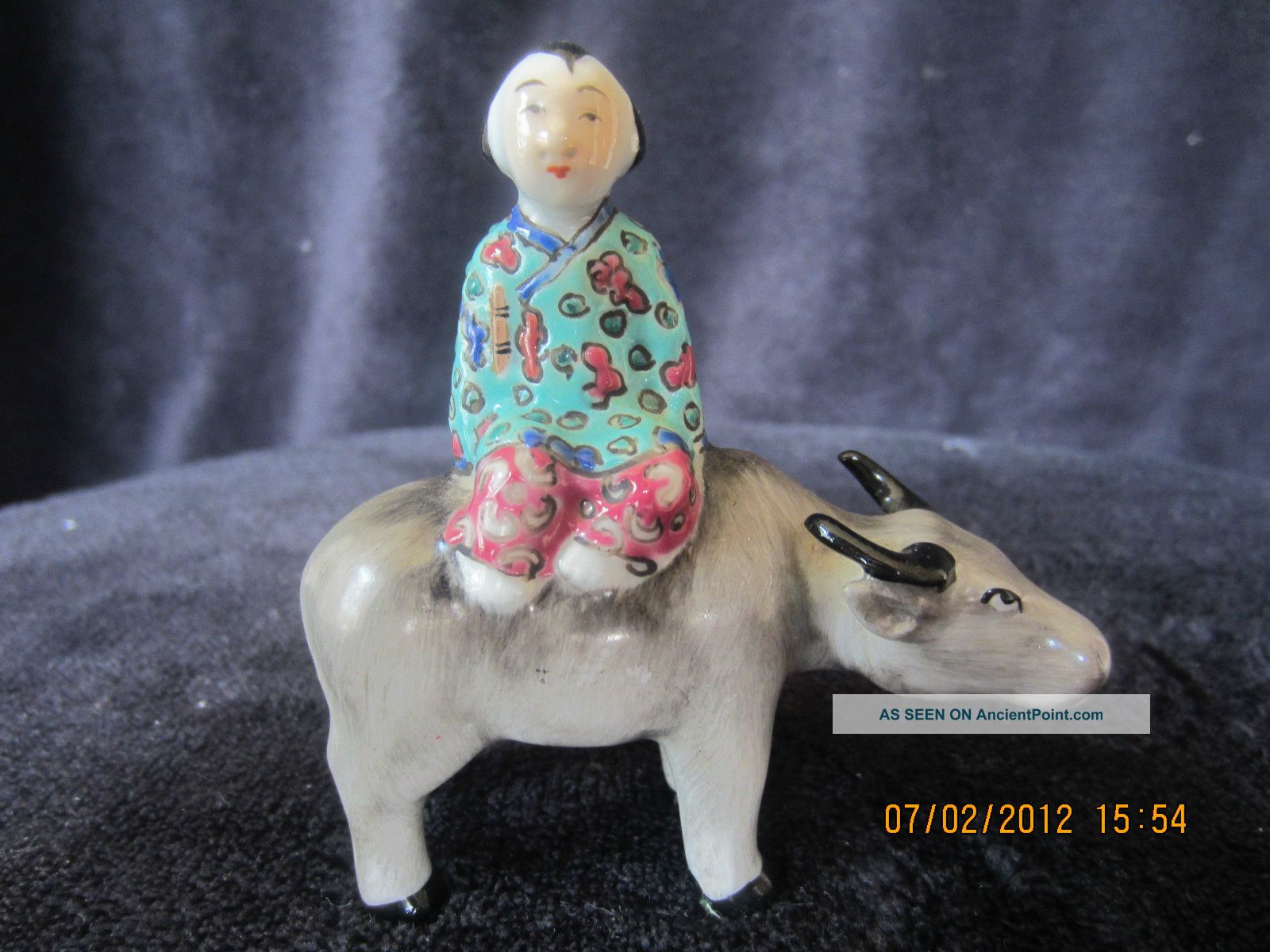 Vintage Chinese Hand Painted Porcelain Statue Of A Boy W/ Cow Vases photo