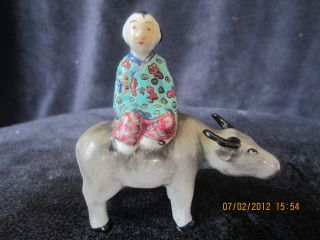 Vintage Chinese Hand Painted Porcelain Statue Of A Boy W/ Cow photo
