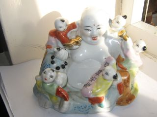 Antique Porcelain Chinese Buddha With 5 Children photo