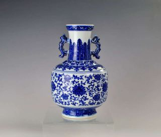 Chinese Blue And White Porcelain Double - Eared Vase Design Floral Antique photo