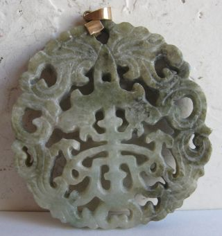Fine Old Chinese 14k Gold Carved Green Jade Necklace Pendant China photo