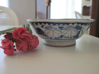 Antique Primitive Handpainted Chinese Ceramic Pottery Bowl Dish Blue And White photo