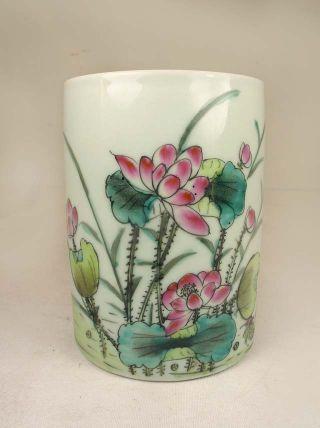 Chinese Porcelain Pen Container,  Lotus Flowers&mandarin Ducks photo