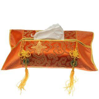 Chinese Distinctive Style Tissue Cover Box Holder Paper Cover Case Orange photo