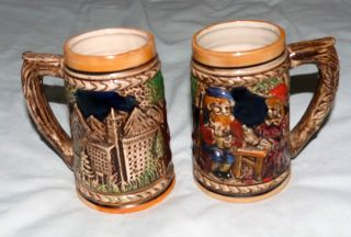 Japan Vintage Pair Hand - Made European Scene Japanese Pottery Half - Pint Tankards photo