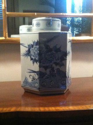 Blue And White Chinese Porcelain Hexagonal Jar photo