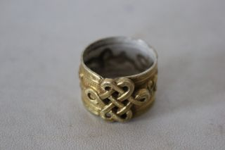 Exquisite Antique Chinese Silver Gilt Tradition Design Ring photo