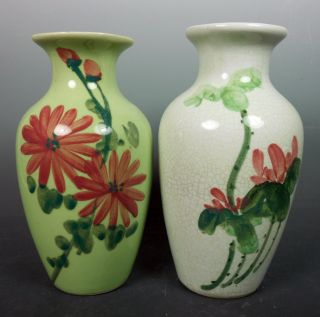 Two Chinese Antique Vintage Colorful Hand Painted Porcelain Floral Flower Vases photo