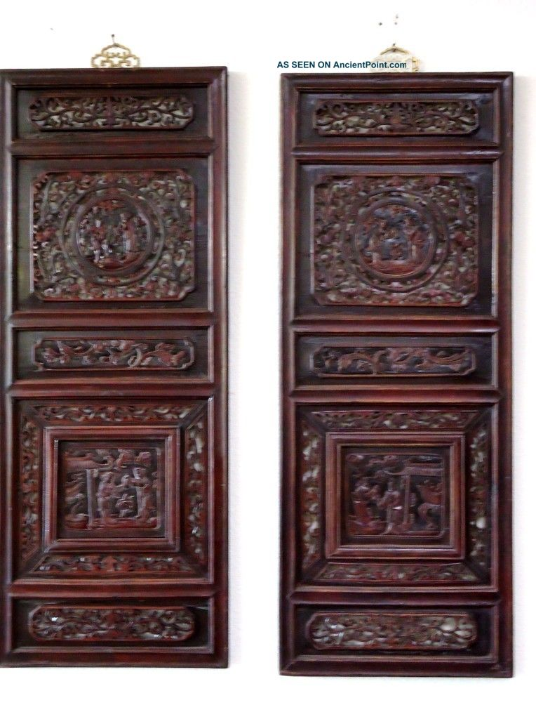 Rare Pair Chinese Antique Oriental Wall Decor Wood Panel Wooden Screen