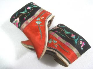 Antique Chinese Women Bound Feet Embroidery Shoes photo