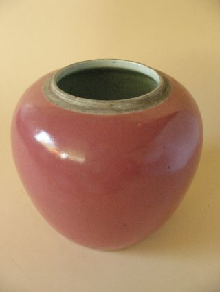 Old Estate Vase Red Chinese Monochrome Porcelain Jar photo